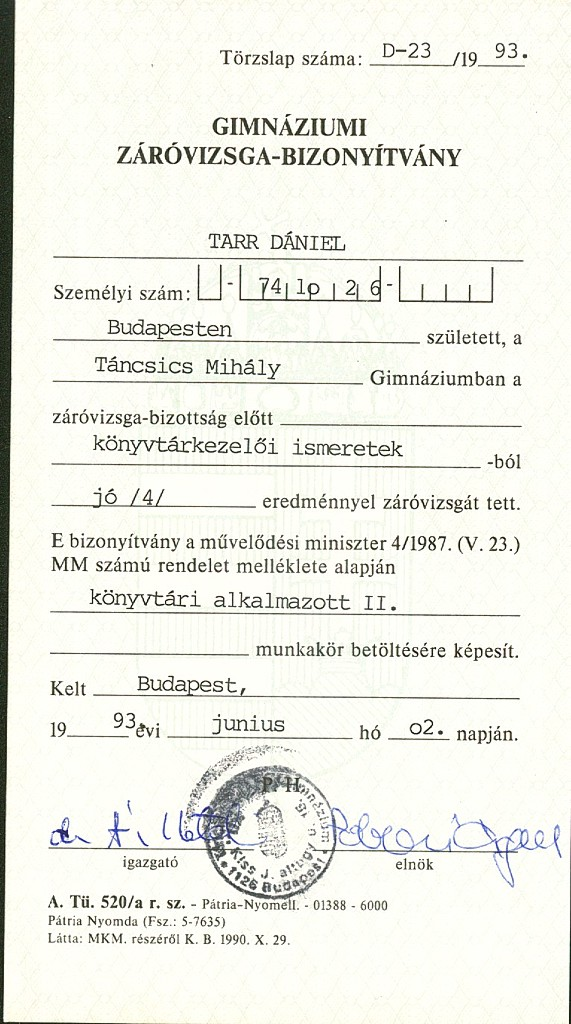 Daniel TARR CYBERGURU Education and Studies – Medical Certificate for School